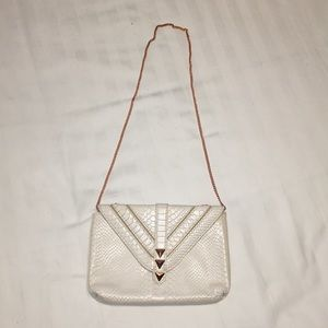 White and rose gold bag